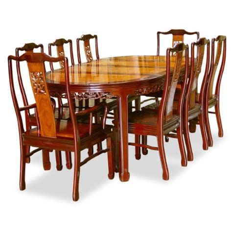 80in rosewood oval dining table with 8 chairs