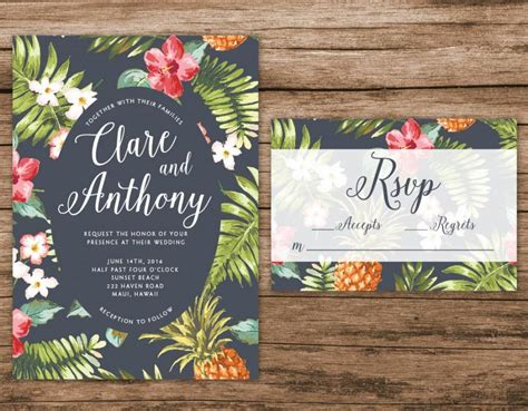 Leaf Themed Wedding Invitations by Hawaiian Wedding Invitation Tropical Wedding Invitation