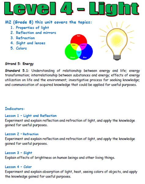 information about light energy light energy worksheets grade about