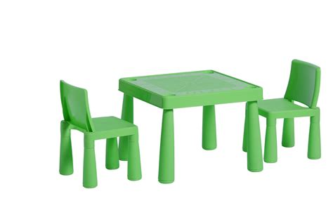 childrens plastic garden or inside table and 2 chairs