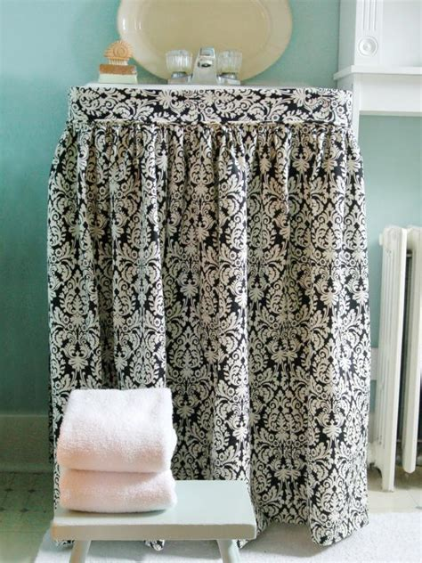 diy bathroom sink skirt how to make a sink skirt hgtv