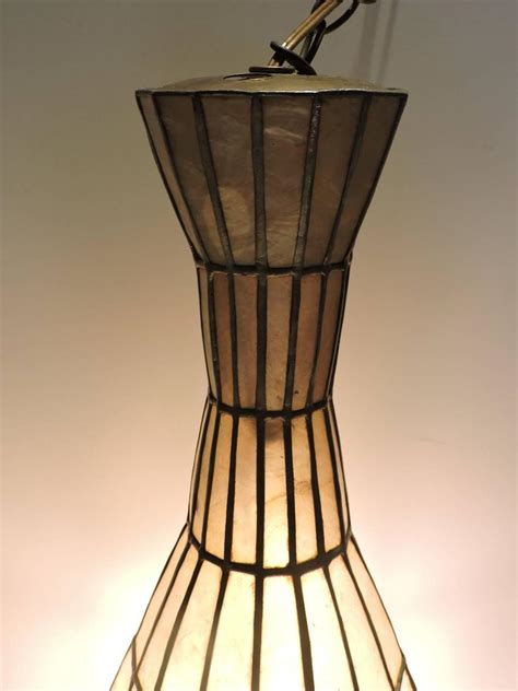 Large Elongated Vase Form Capiz Shell Pendant Chandelier Large Pendant Chandelier