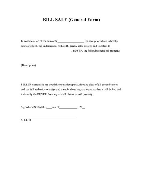 Free Printable Generic Bill Of Sale Form And Template Format For Ms Word Or Pdf Vlashed Generic Bill Of Sale Template Free