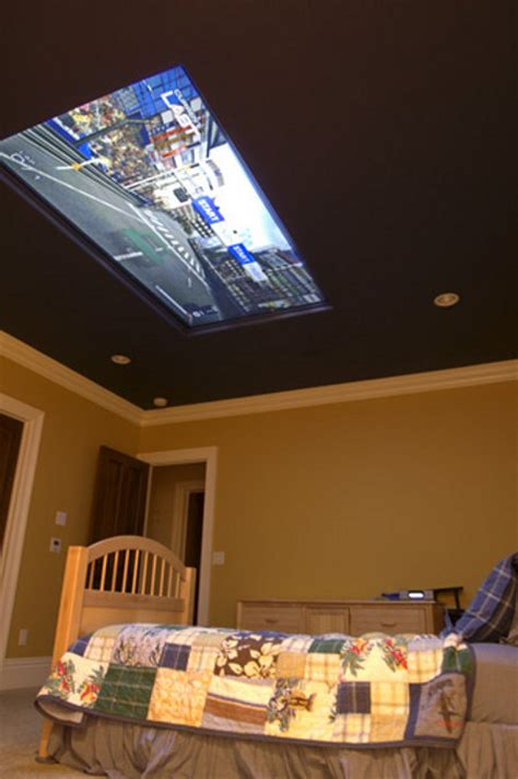 In Ceiling Tv Mount by Spoiled Brat Gets 98 Quot Tv In Ceiling Above Bed Geekologie