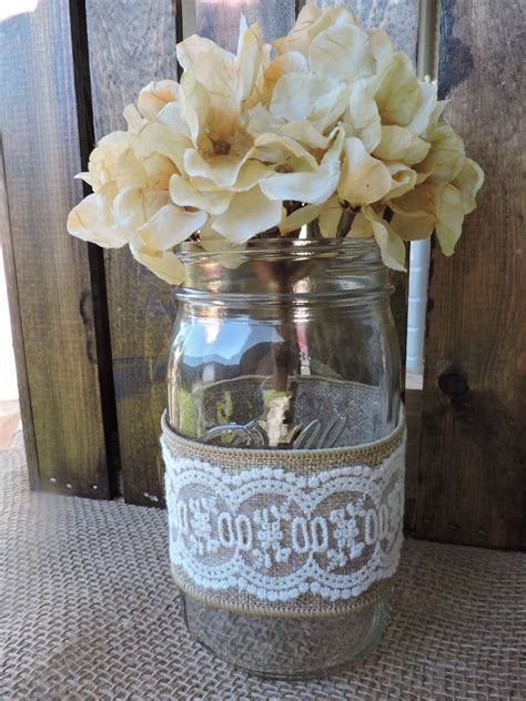 burlap and lace mason jar wedding centerpiece table
