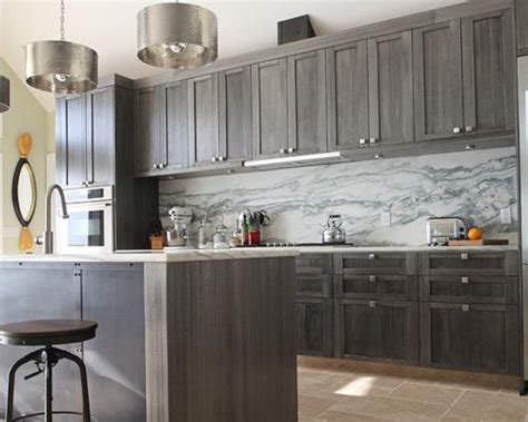 grey stained cherry cabinets houzz
