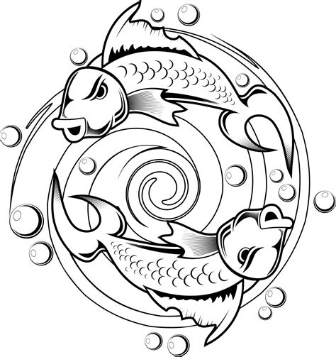 kids coloring pages of a koi fish tattoo design coloring