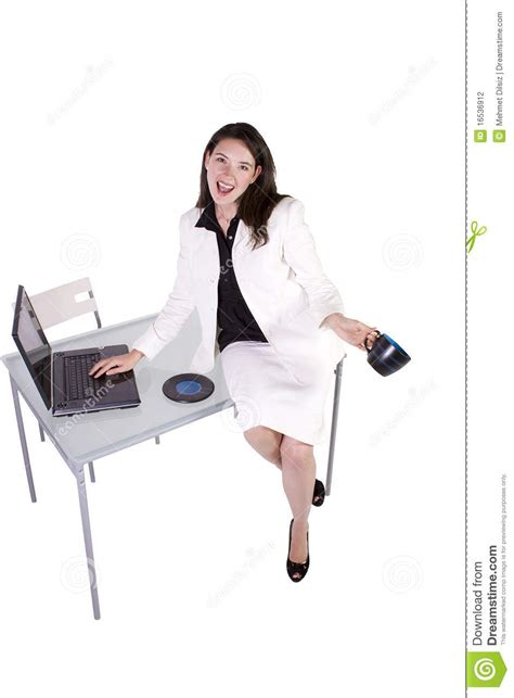 Sit At The Desk by Sitting On The Desk Stock Photography Image