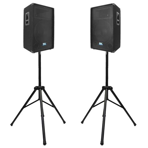Tripod Speaker seismic audio pair 15 inch pa dj speakers w 2 tripod speaker stands ebay