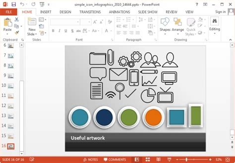animated simple icons powerpoint template powerpoint