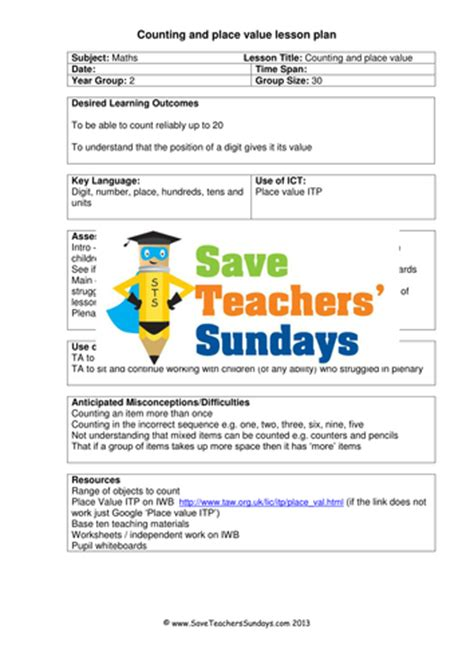 A Place Lesson Plan Place Value Ks1 Worksheets Lesson Plans And Activities By Saveteacherssundays Uk Teaching