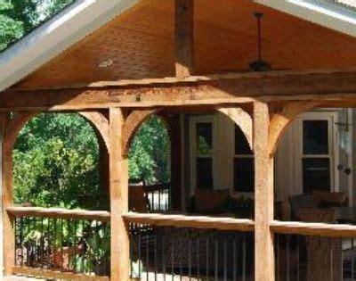 open porch  cedar arches  timbertech composite