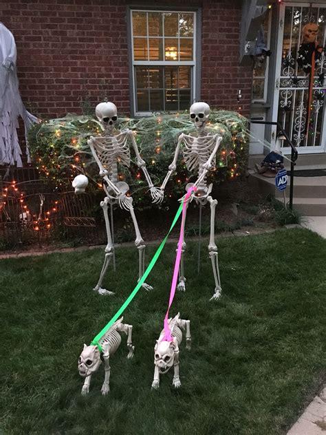 skeletons walking dog decoration  moms  halloween