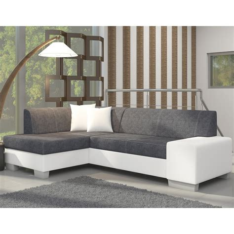 canape angle blanc canap 233 d angle avec lit d appoint gris et blanc en tissu et pu