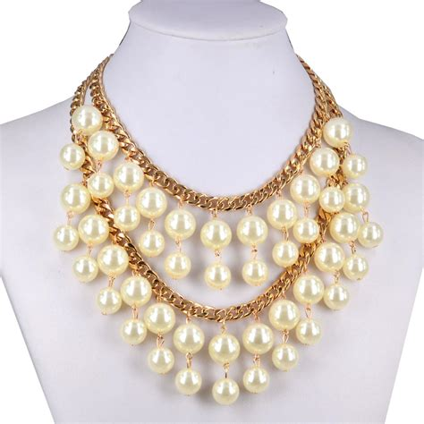 Kalung White Pearl Layer fashion artificial white pearl choker layered necklace jewelry h8492 on luulla