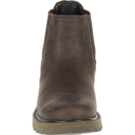 cat mens stoic brown mens leather slip on boot cat