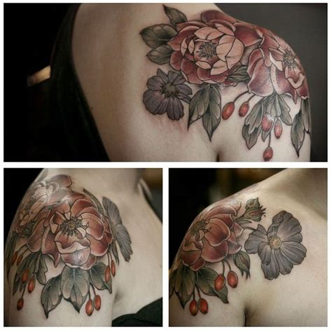 cardinal rose tattoo one sitting floral shouldercap of cardinal hume roses