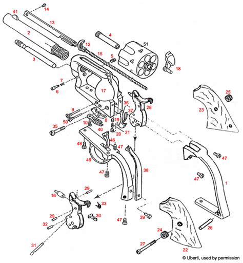 revolver parts diagram uberti cattleman 1873 colt army knock exploded