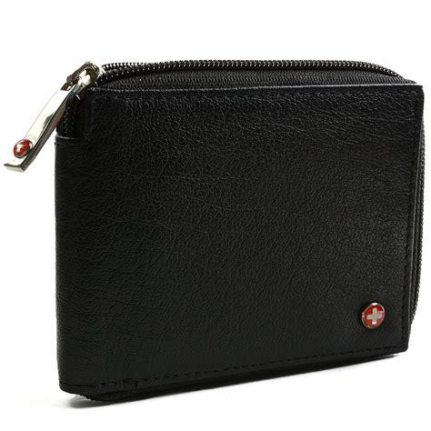 Wallet Zipper alpine swiss rfid blocking mens leather wallet zip around