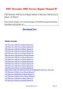 1987 mercedes 190e service repair manual 87 by lan huang