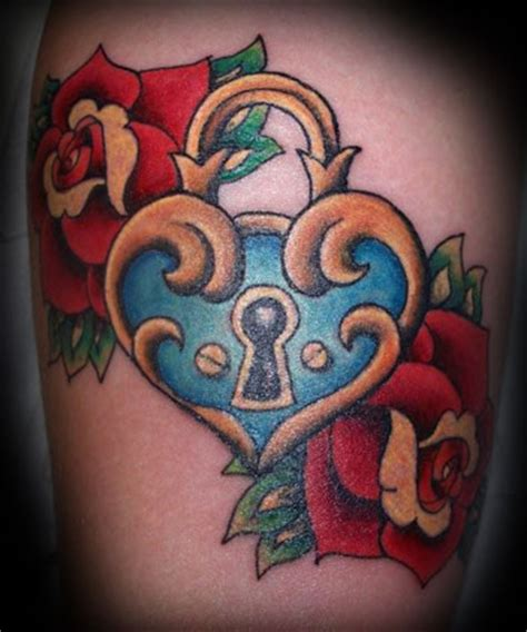 roses n heart locket tattoo design tattooshunt com