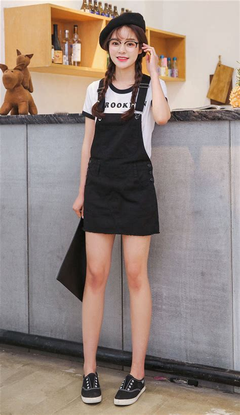 Korean Black Style korean style black fitted denim overalls dress