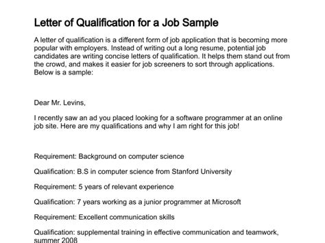 Application Letter Qualifications Letter Of Application Letter Of Application Qualifications