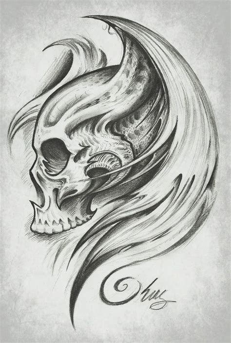 badass tattoos drawings skull wings by j king 21 deviantart tatoeages om na