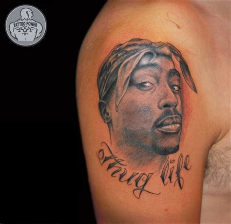 thug life tattoo thug portrait on right shoulder