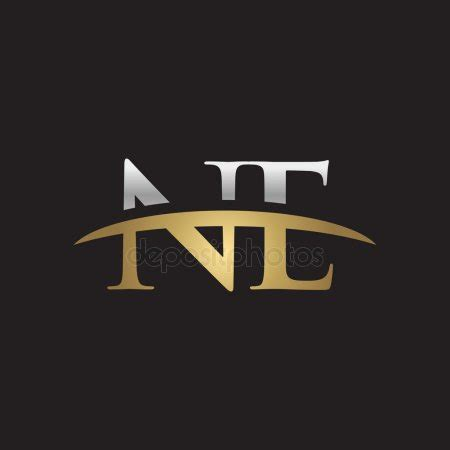 initial letter nk silver gold swoosh logo swoosh logo