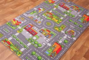 children s rugs town road map city rug play mat ebay