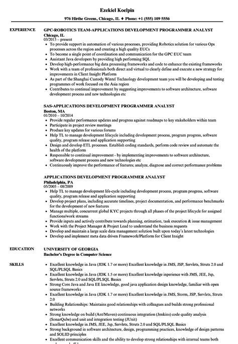 applications development programmer analyst resume sles