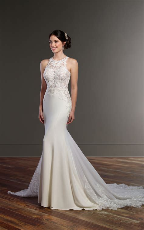 illusion racerback wedding dress  high neck martina