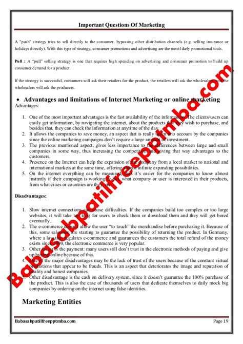 Mba Important Questions by Marketing Management Module 1 Important Questions Of