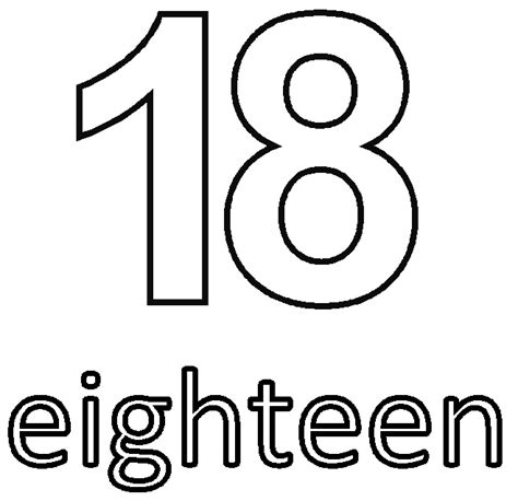 number 18 template 1 18 coloring pages coloring pages