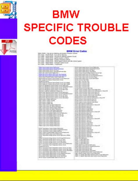 Bmw Codes Bmw Specific Trouble Codes Manuals Technical