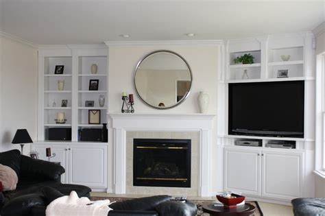 Living Room With Tv In The Corner Custom Built In Bookcases Traditional Family Room