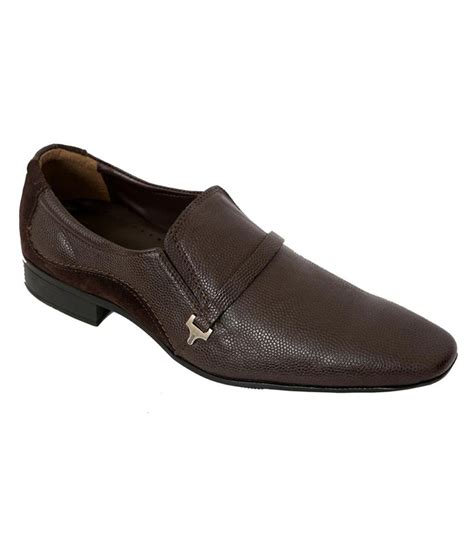 auarshoes brown leather formal shoes for price in