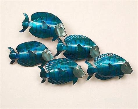 school  tangs  fish metal wall art beach decor