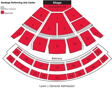 spac seating chart with numbers spac saratoga performing arts center seating charts