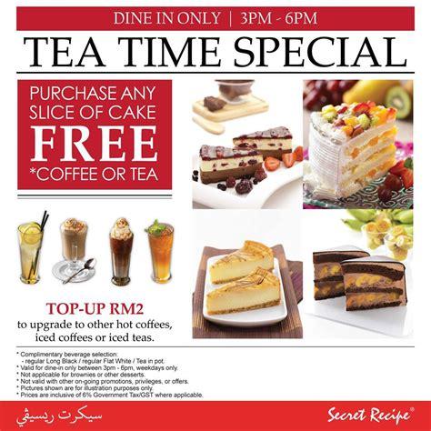 secret recipe promotion secret recipe tea time special free coffee or tea