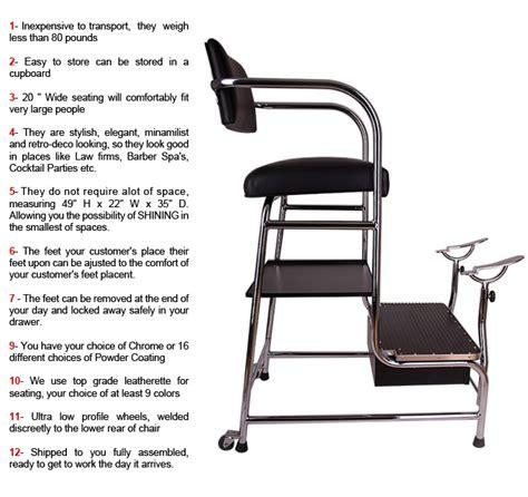 Portable Shoo Chair shoe shine chair measurements