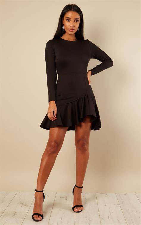 Sale Tq Hem Luna5 black sleeve frill hem dress silkfred