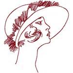 paisley pattern gif redwork flapper with paisley hat embroidery design