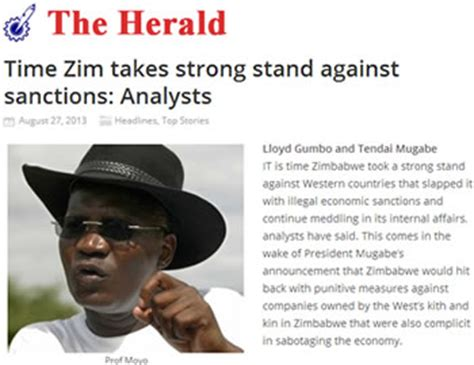 zimbabwe herald news today state media increases sanctions spin zimbabwe situation