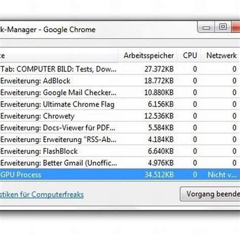 chrome gpu process vorschau auch der chrome browser erh 228 lt eine