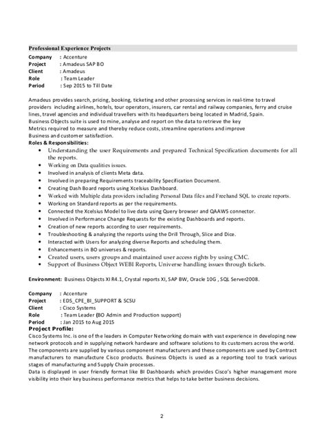 sap bo resume sle awesome collection of sap resume 100 images awesome