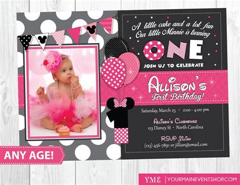 minnie mouse 1st birthday invitations templates minnie mouse 1st birthday invitations with photo best ideas