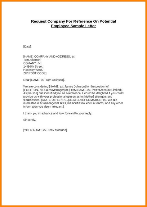 Reference Letter For Potential Employee 6 Reference Letter For Employee Ledger Paper