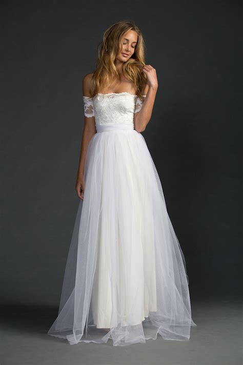 ivory strapless a line lace and tulle floor length simple